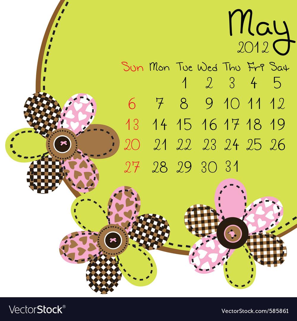 2012 may calendar vector | Price: 1 Credit (USD $1)