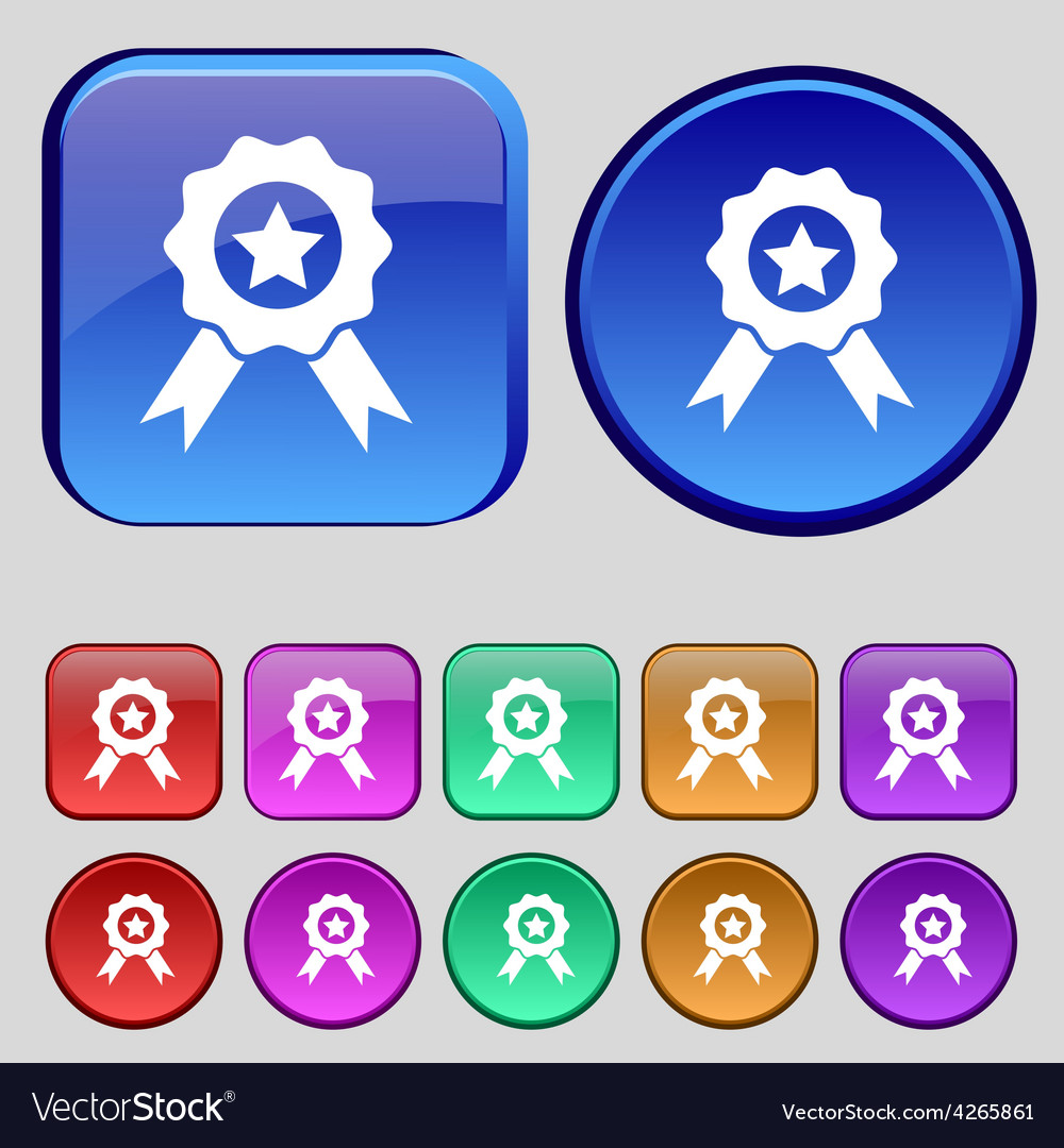 Award medal of honor icon sign a set of twelve vector | Price: 1 Credit (USD $1)