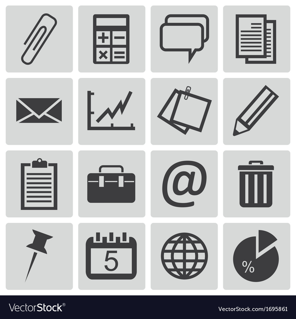 Black office icons set vector | Price: 1 Credit (USD $1)