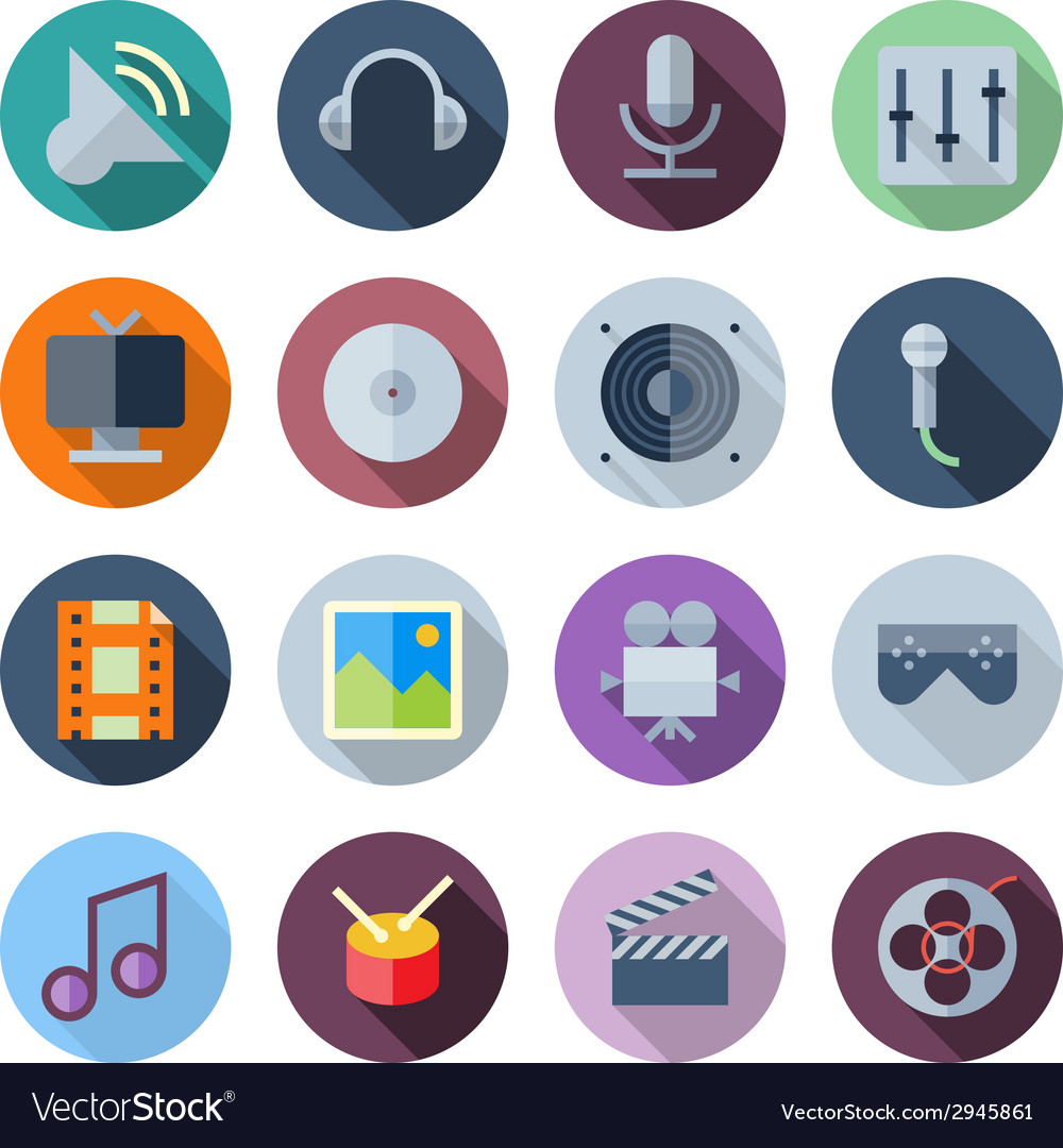 Flat design icons for sound and music vector | Price: 1 Credit (USD $1)