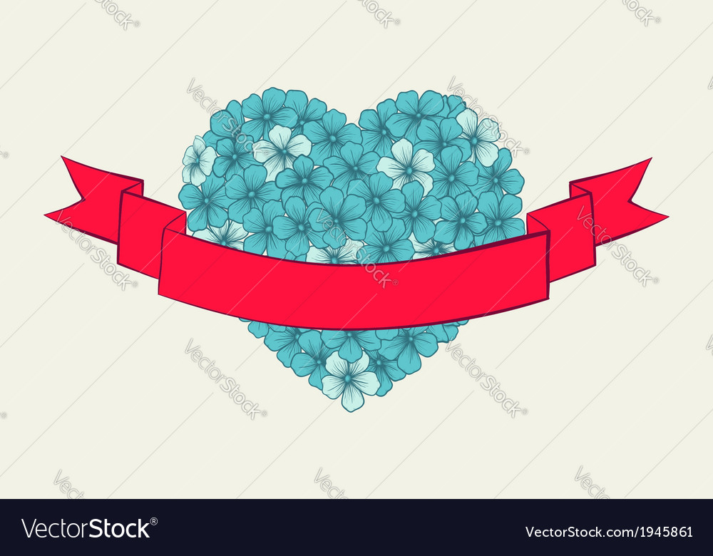 Heart with a ribbon of flowers drawn contour lines vector | Price: 1 Credit (USD $1)