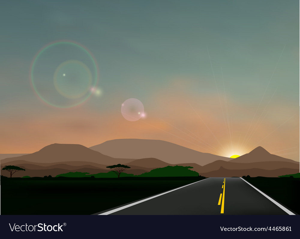 Landscape with sunset vector | Price: 3 Credit (USD $3)