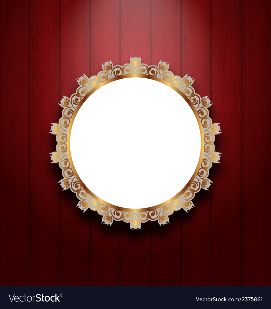 Ornate picture frame on wooden wall vector | Price: 1 Credit (USD $1)