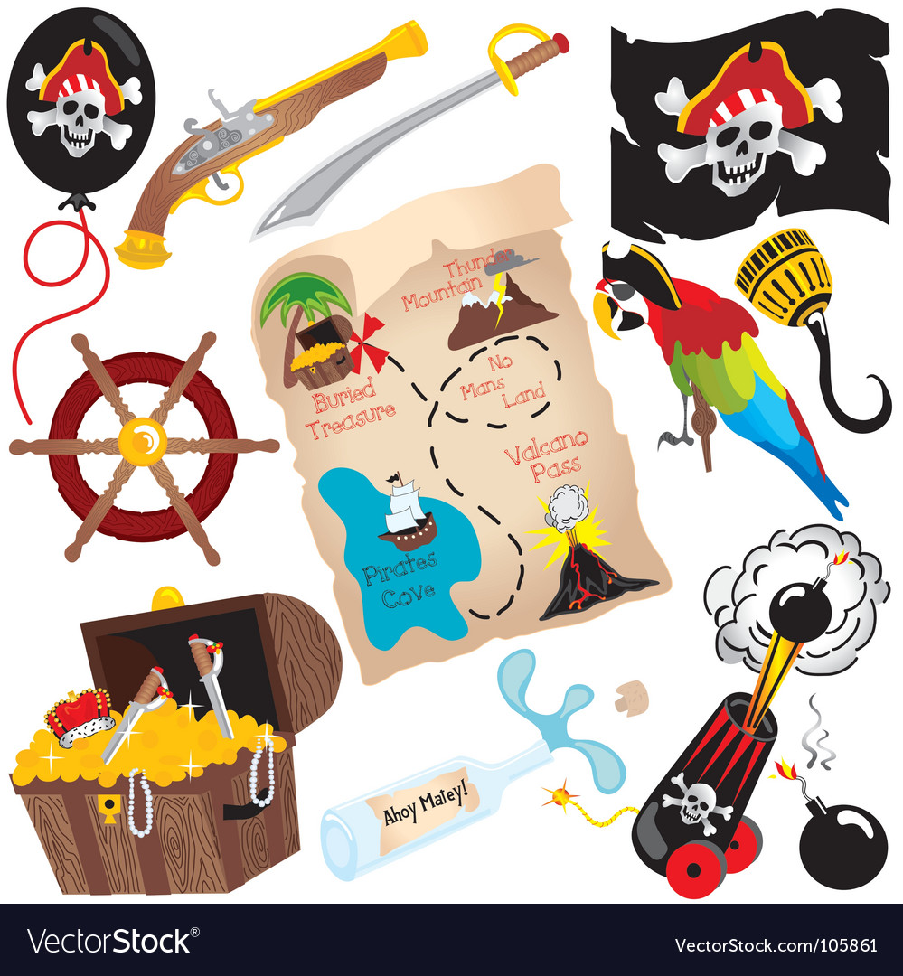 Pirate birthday party icons vector | Price: 3 Credit (USD $3)
