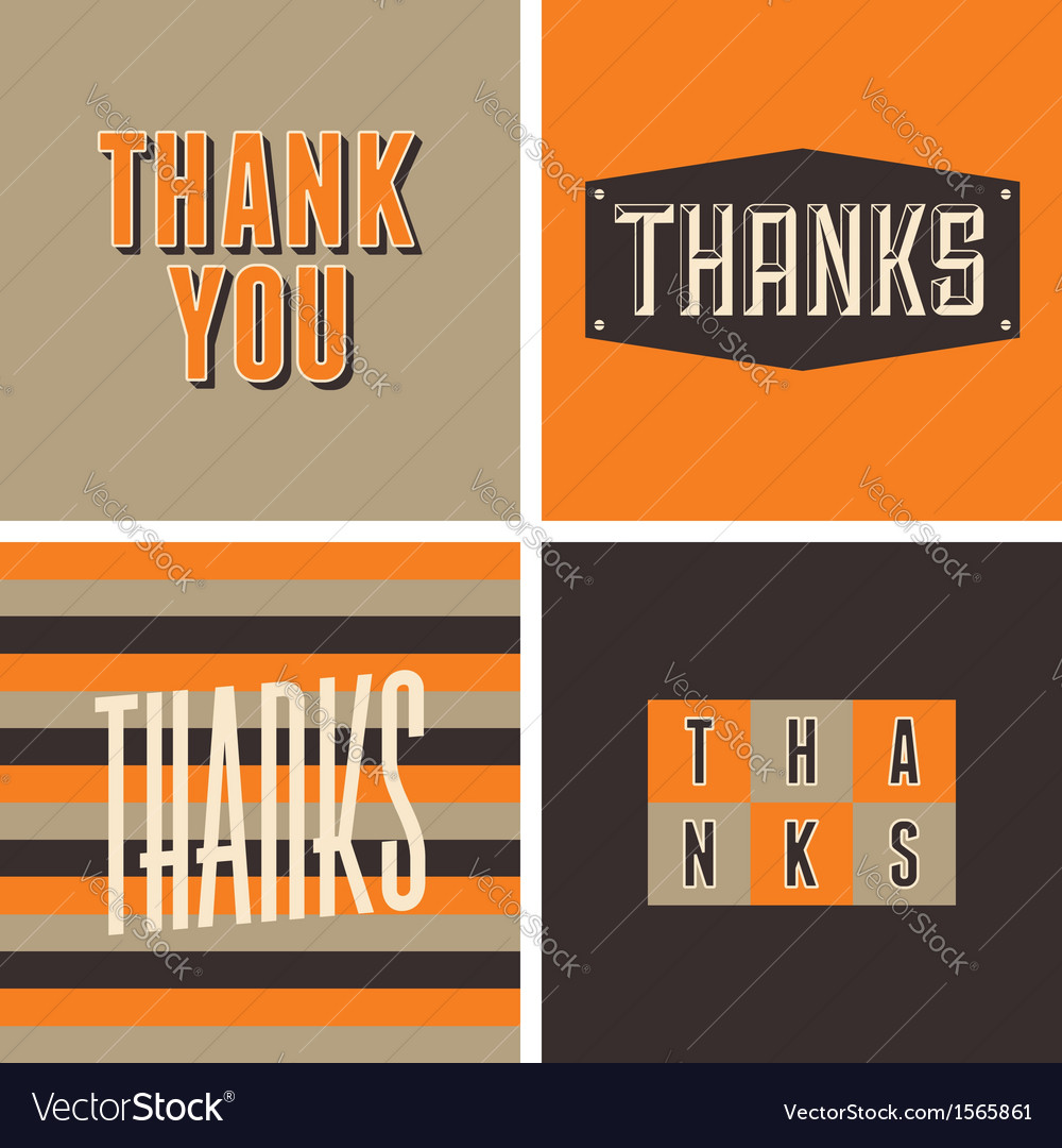 Retro design thank you greeting cards vector | Price: 1 Credit (USD $1)