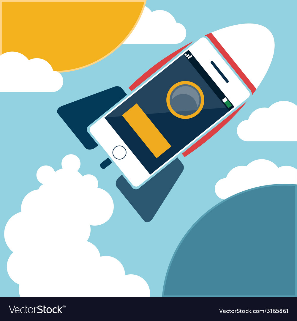 Space rocket flying in sky vector | Price: 1 Credit (USD $1)