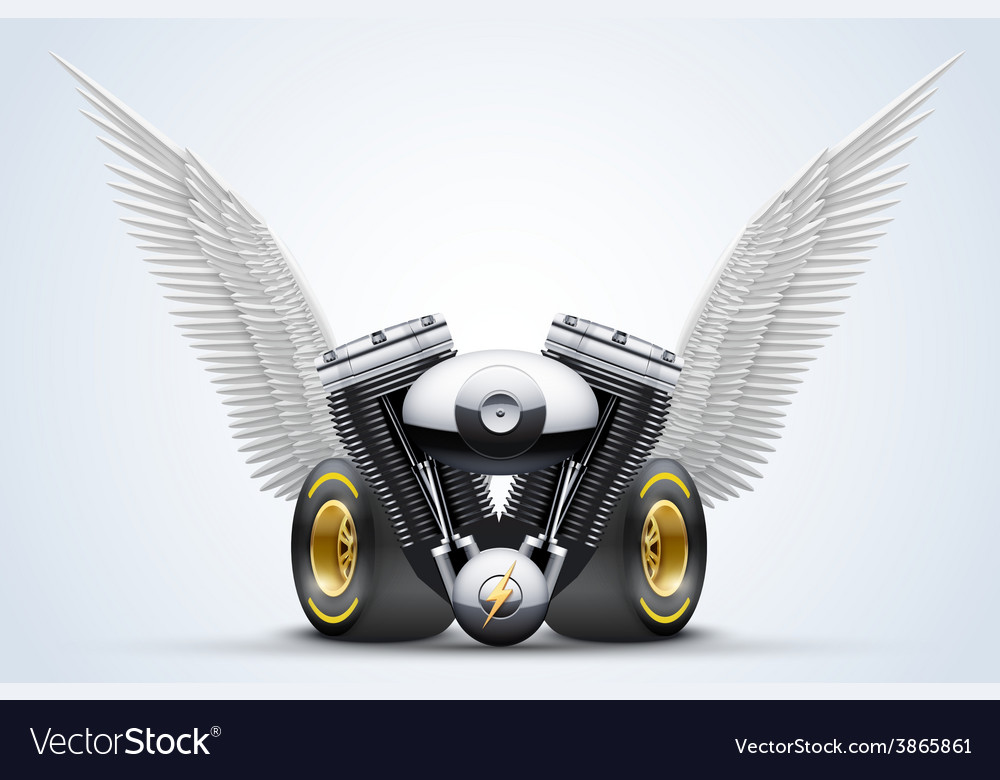 Symbol of motorcycle engine with white open wings vector | Price: 3 Credit (USD $3)