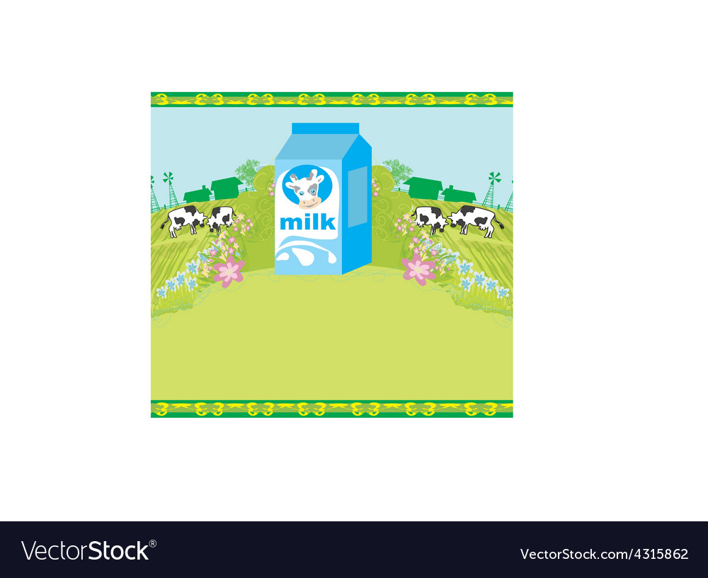 Abstract poster with a carton of milk and cows vector | Price: 1 Credit (USD $1)