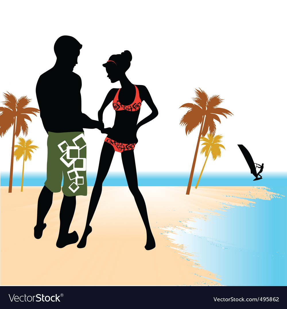 Beach flirting vector | Price: 1 Credit (USD $1)