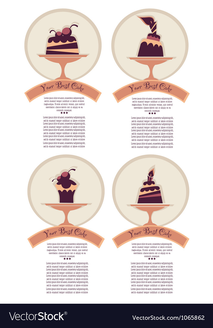 Dessert labels stickers or menu covers vector | Price: 1 Credit (USD $1)