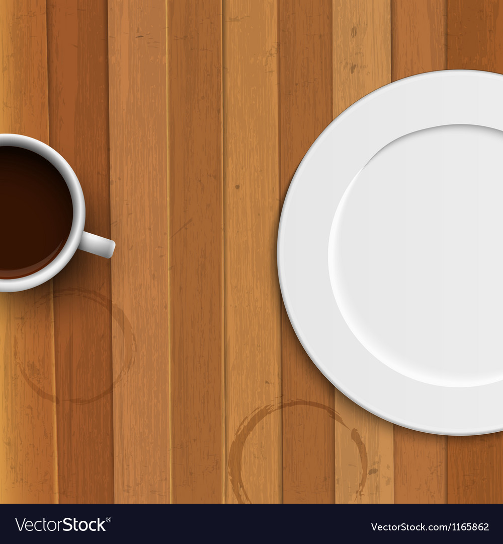 Dinner plate and coffee cup on wooden background vector | Price: 1 Credit (USD $1)