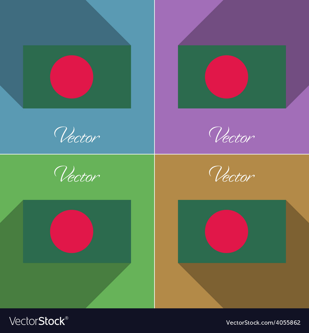 Flags bangladesh set of colors flat design and vector | Price: 1 Credit (USD $1)