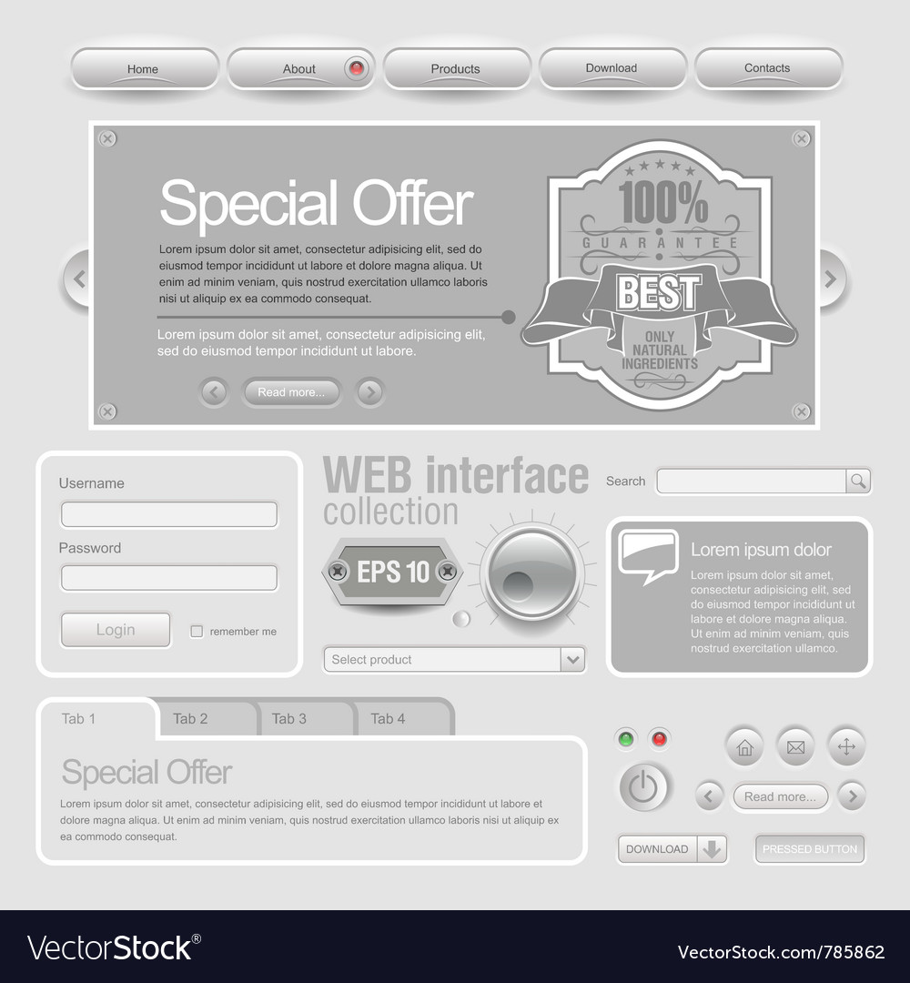 Light web ui elements design gray vector | Price: 3 Credit (USD $3)