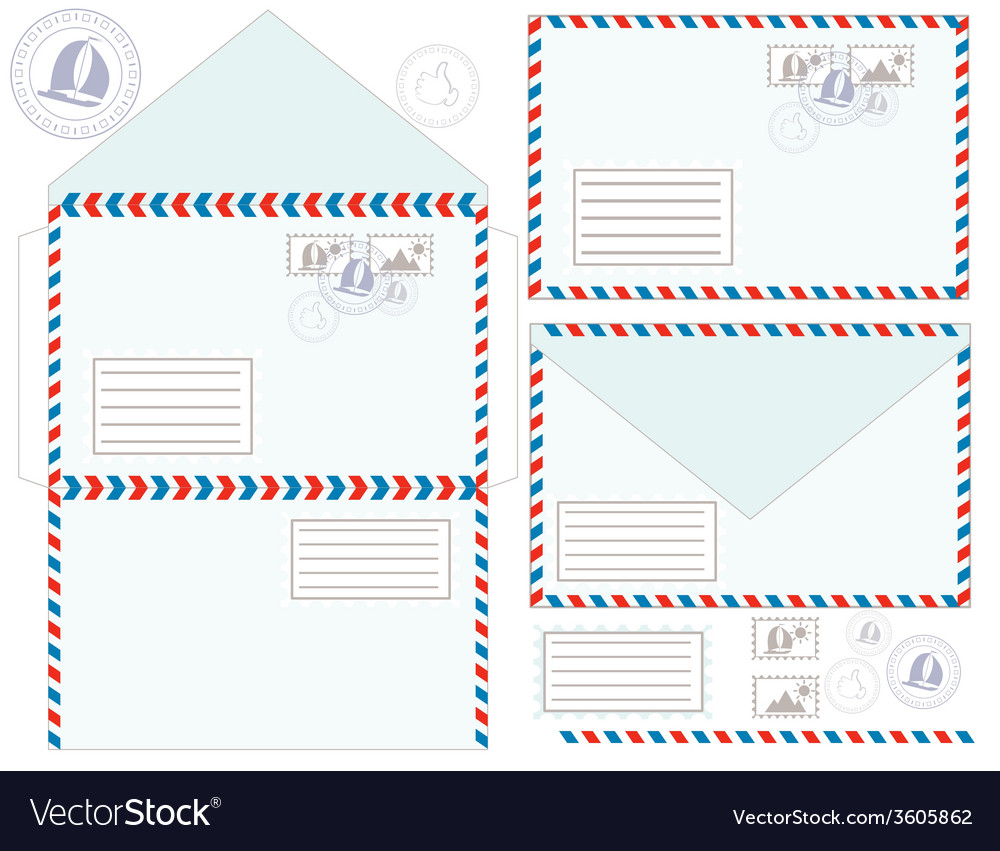 Mail envelope stickers stamps and postcard vector | Price: 1 Credit (USD $1)
