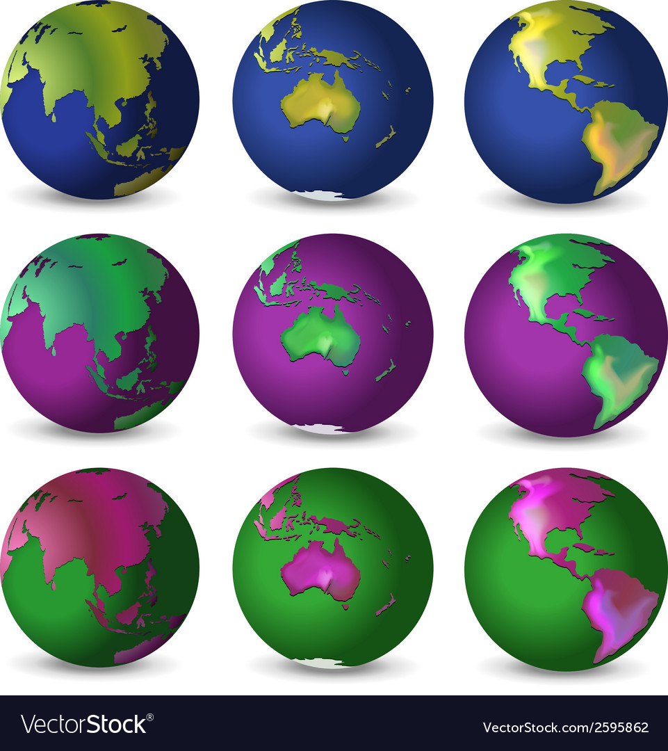 Set of globes in different colours vector | Price: 1 Credit (USD $1)