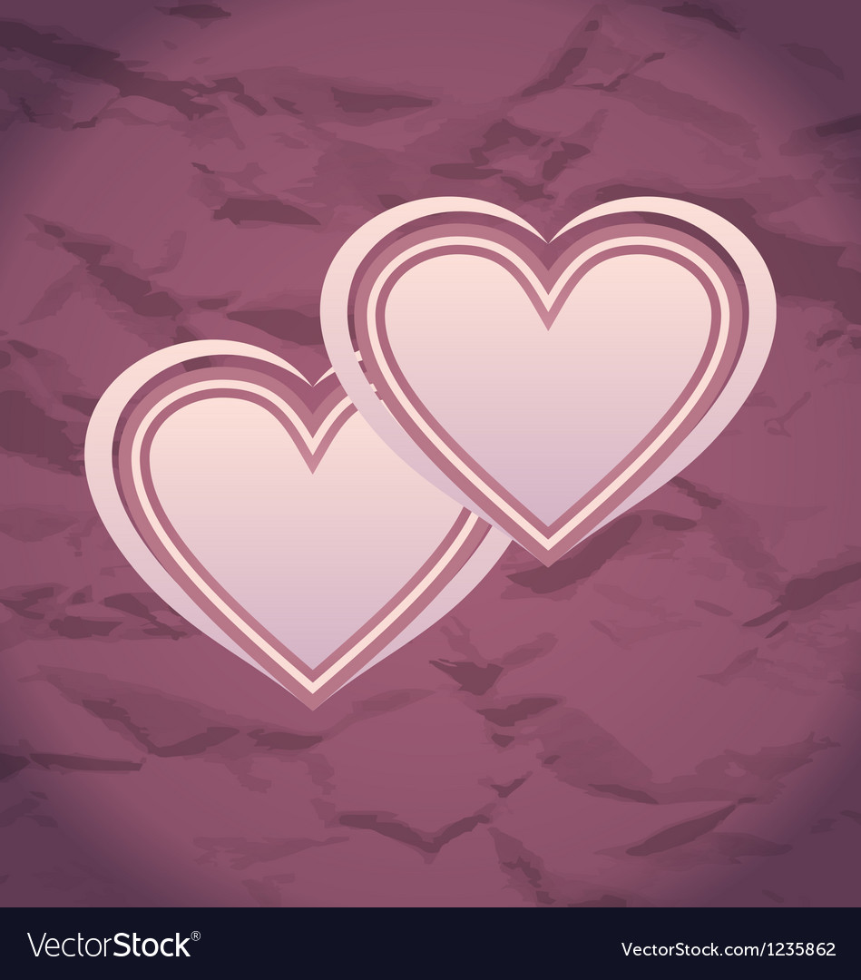 Valentines day vintage background with hearts vector   Price: 1 Credit (USD $1)