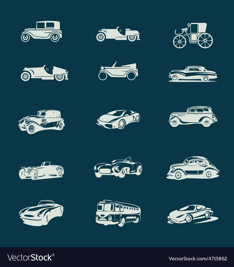 Vintage cars icons set vector | Price: 1 Credit (USD $1)