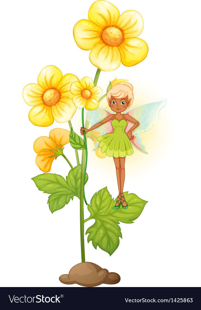 A sunflower with a fairy vector | Price: 1 Credit (USD $1)