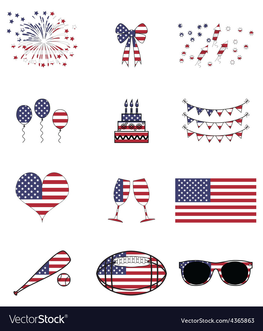 American celebration and symbols vector | Price: 1 Credit (USD $1)