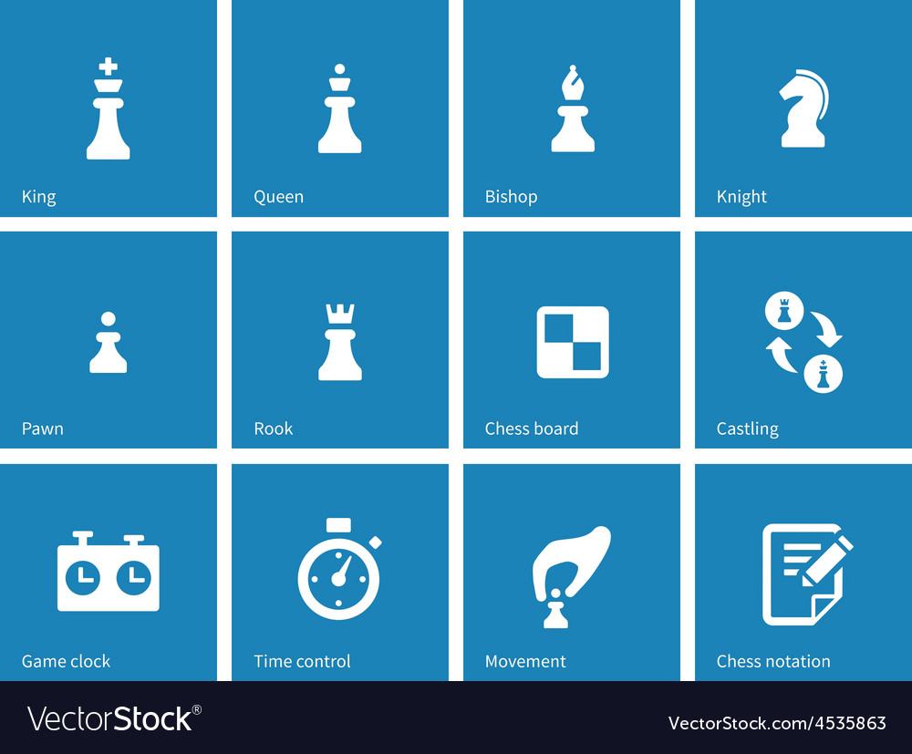 Chess icons on blue background vector | Price: 1 Credit (USD $1)