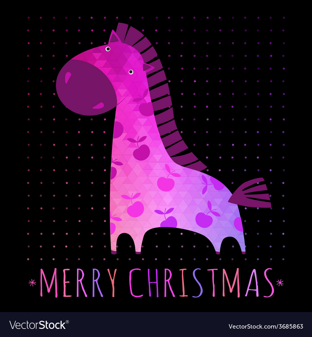 Christmas card with colorful horse vector | Price: 1 Credit (USD $1)