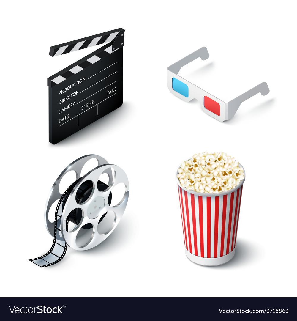 Cinema realistic set vector | Price: 1 Credit (USD $1)
