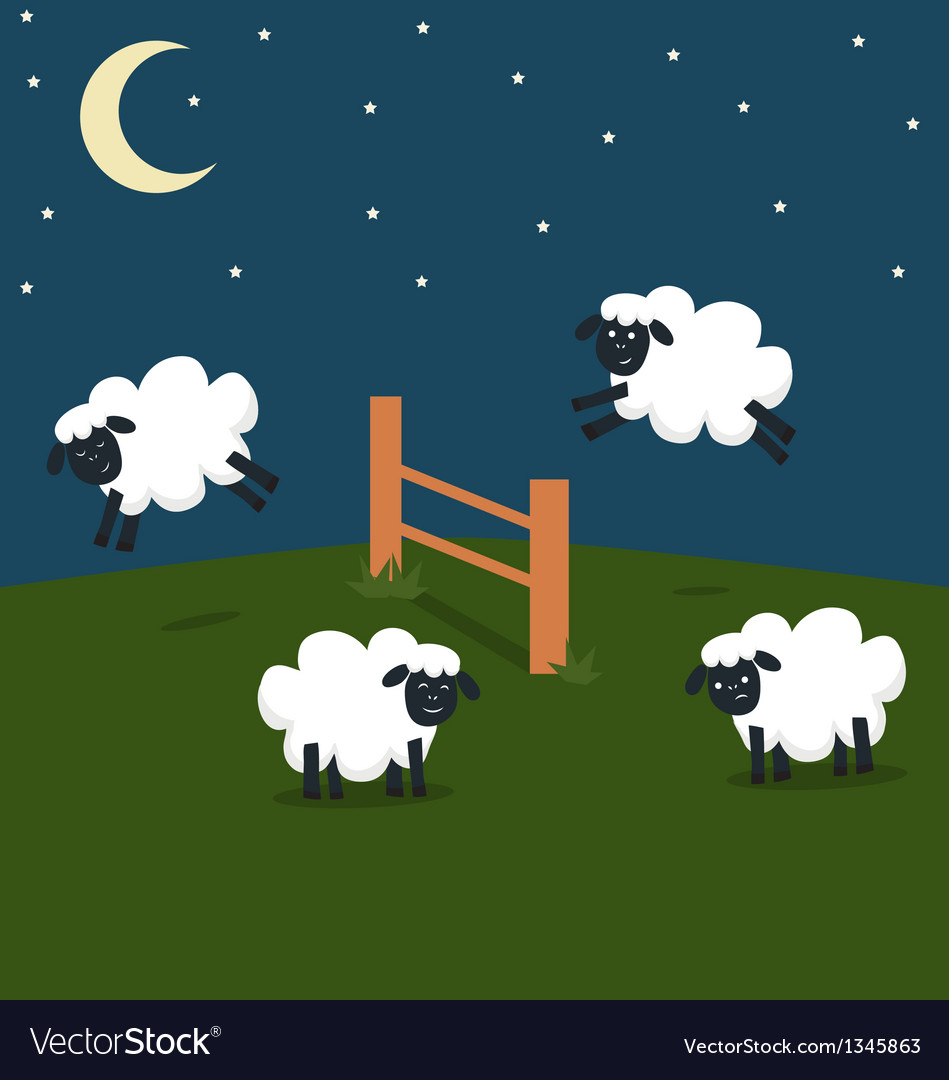 Counting sheep vector | Price: 1 Credit (USD $1)