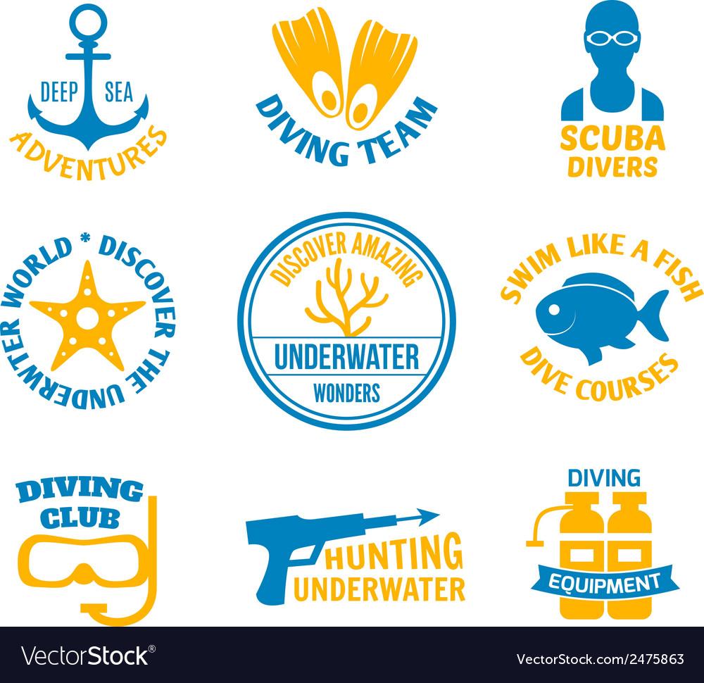 Diving seals set vector | Price: 1 Credit (USD $1)