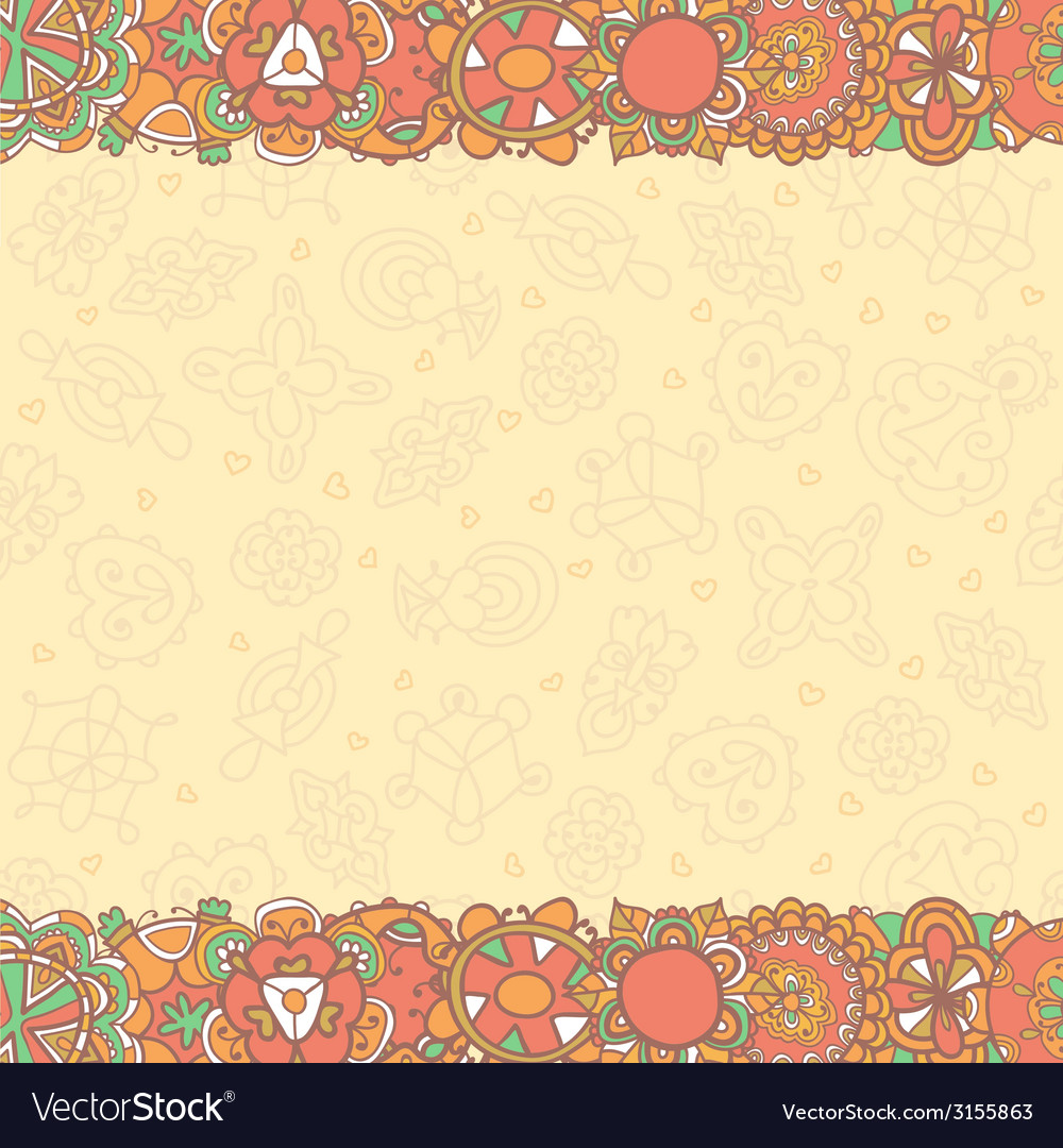Hand drawn abstract flowers background with empty vector | Price: 1 Credit (USD $1)