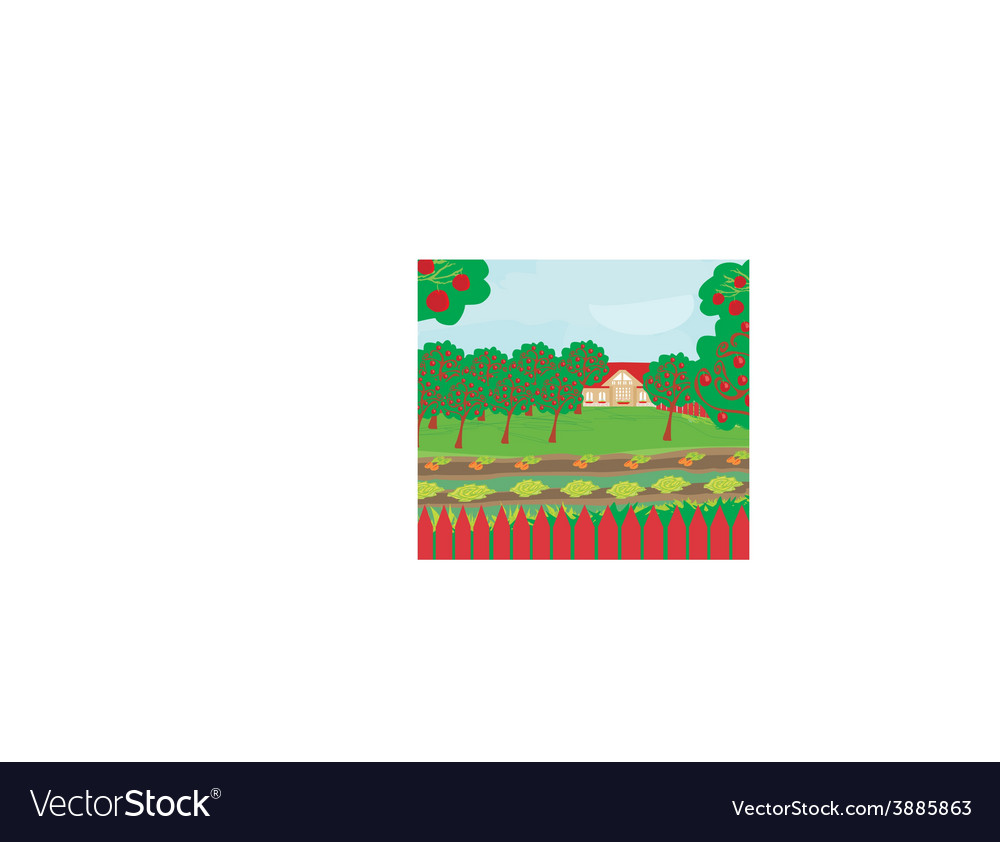 Harvest a crop of apples in a highland orchard a vector | Price: 1 Credit (USD $1)