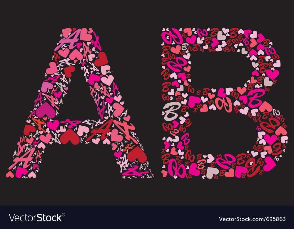 Letter a b valentine alphabet vector | Price: 1 Credit (USD $1)