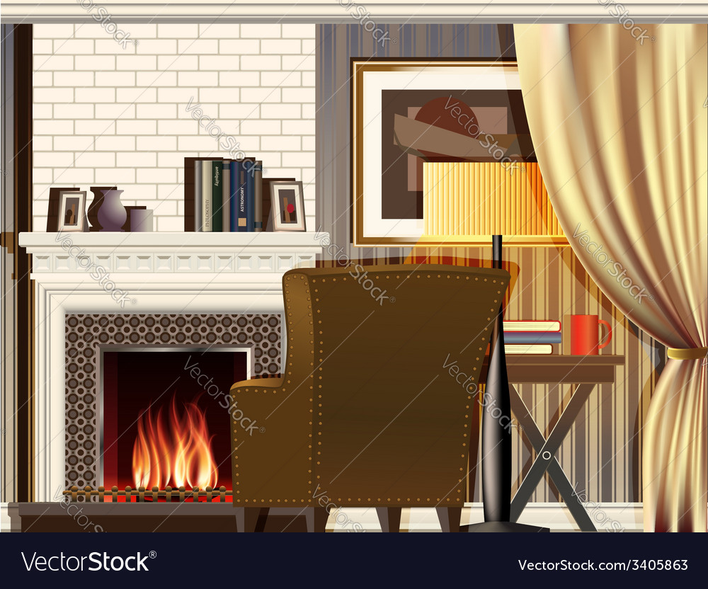 Room with fireplace vector | Price: 1 Credit (USD $1)