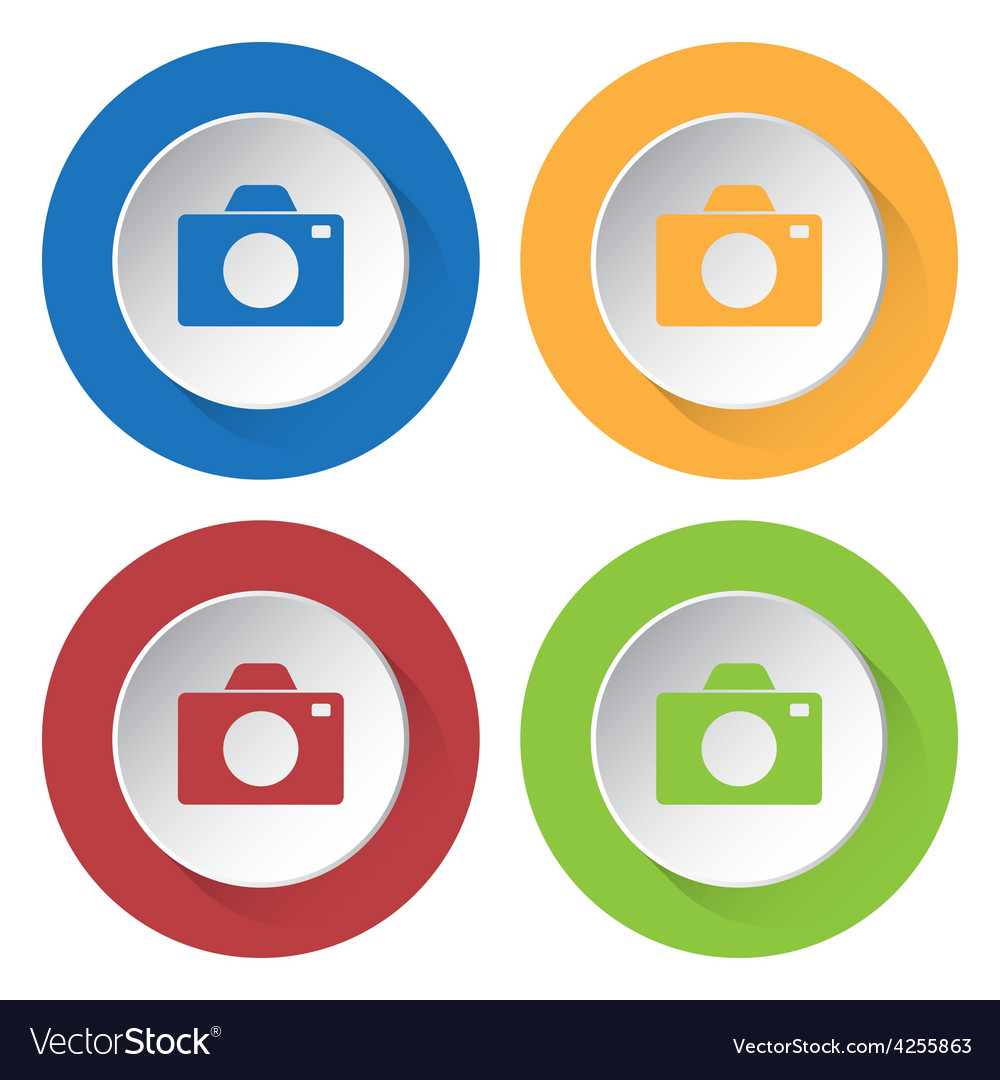 Set of four colored icons with camera vector | Price: 1 Credit (USD $1)