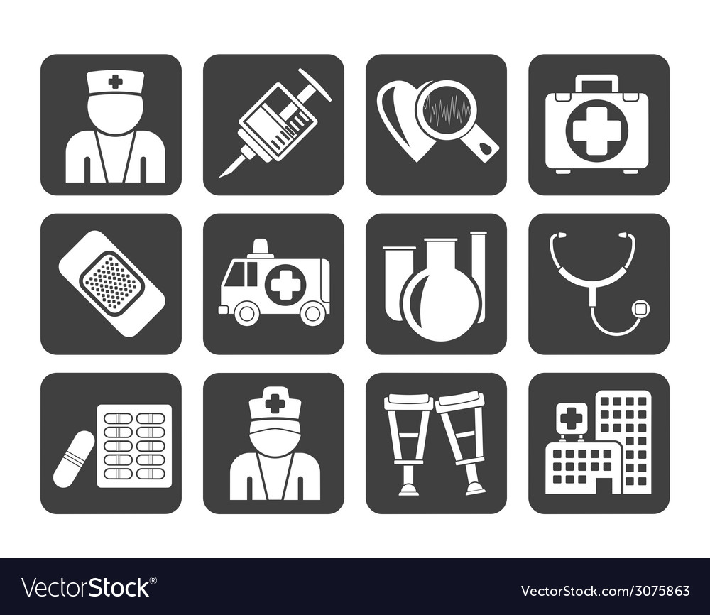 Silhouette medicine and healthcare icons vector | Price: 1 Credit (USD $1)