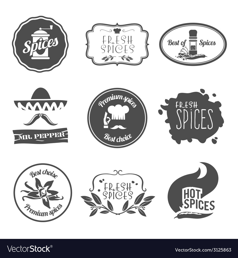 Spices labels black vector | Price: 1 Credit (USD $1)