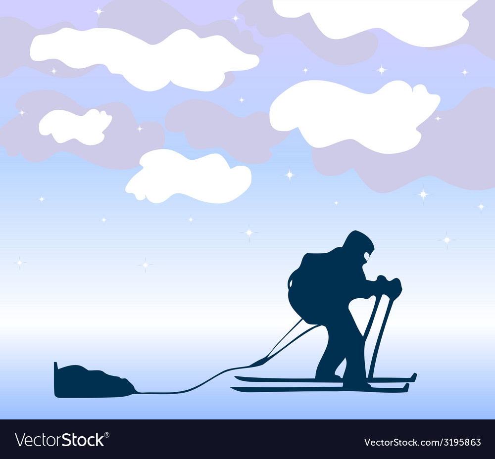 Sportsman the skier goes on a grief background vector | Price: 1 Credit (USD $1)