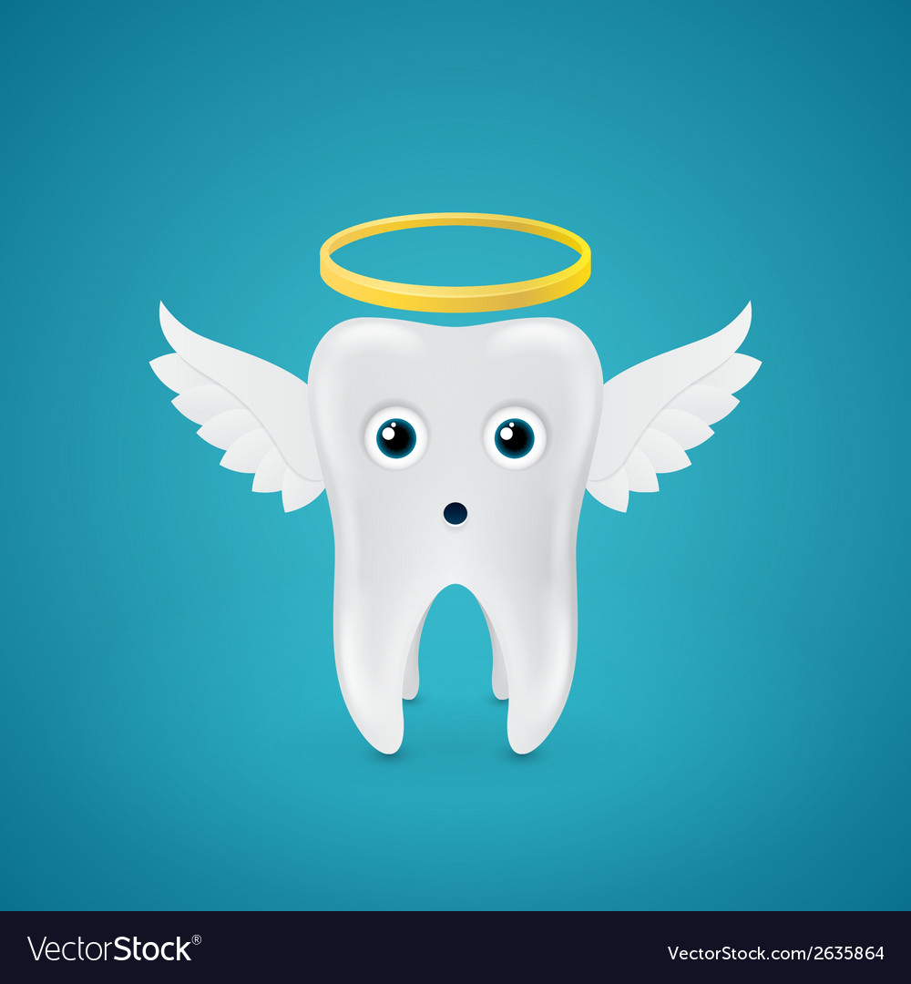 Angelic tooth with wings and a halo vector | Price: 1 Credit (USD $1)