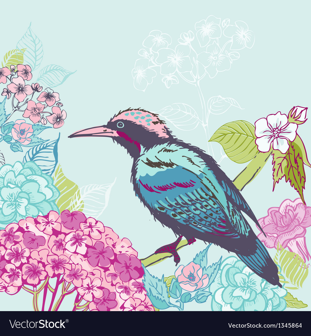 Bird with flowers background vector | Price: 1 Credit (USD $1)