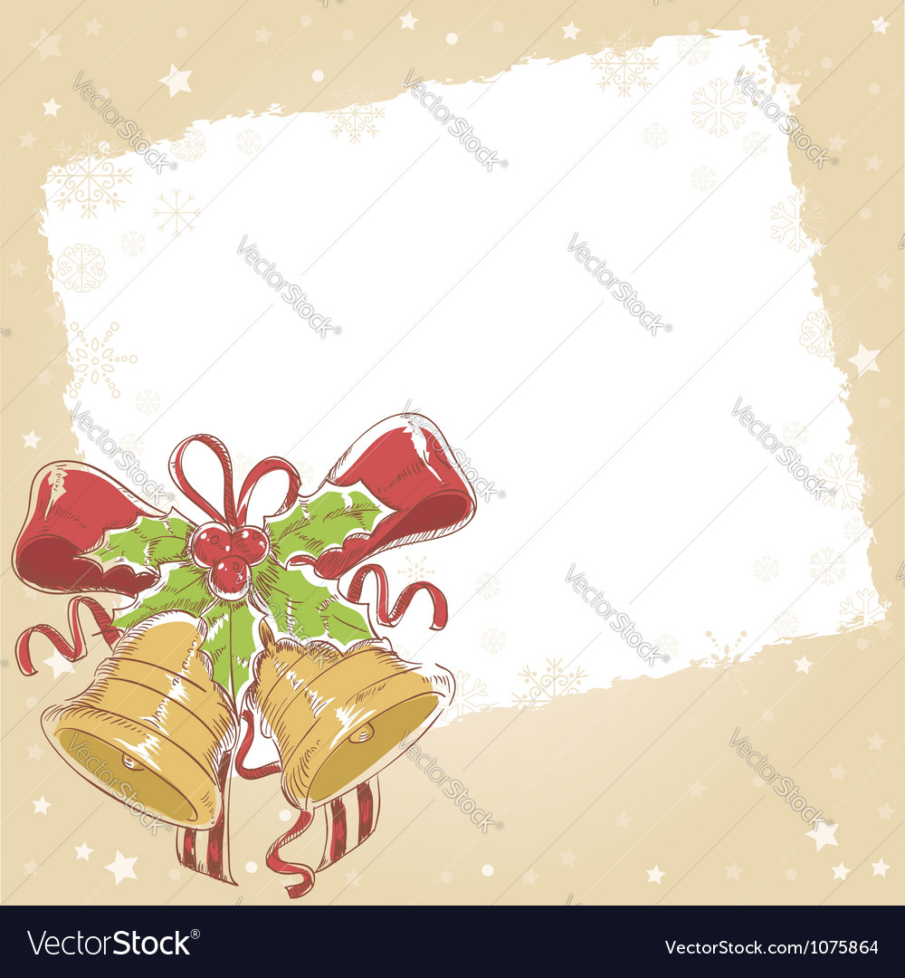 Christmas hand drawn postcard with jinge bells vector | Price: 1 Credit (USD $1)