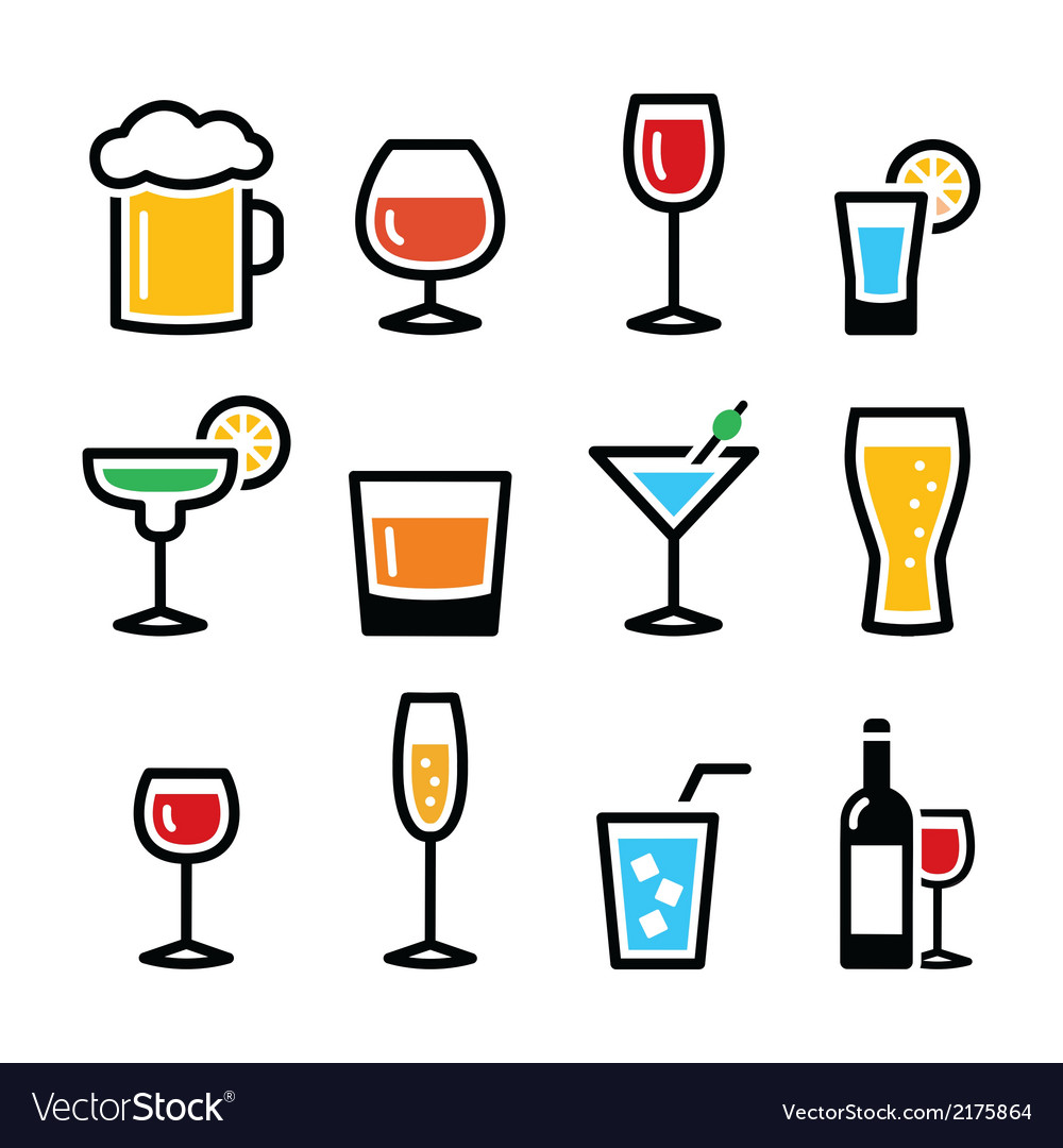Drink colorful alcohol beverage icons set vector | Price: 1 Credit (USD $1)
