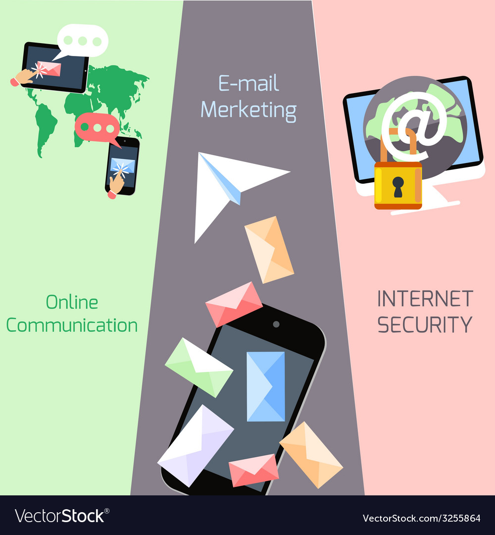 Email marketing security communication concepts vector | Price: 1 Credit (USD $1)