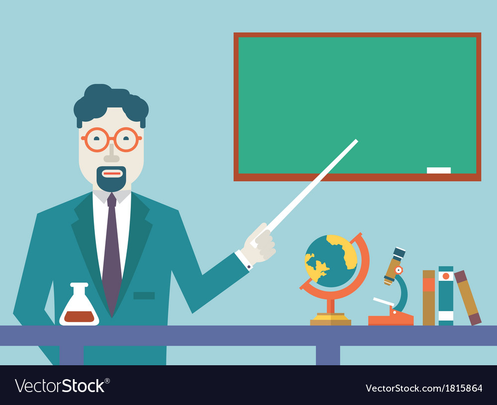 Flat teacher and study schools objects for study vector | Price: 1 Credit (USD $1)