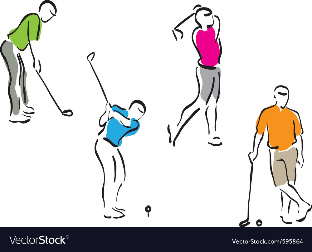 Golf men set vector | Price: 3 Credit (USD $3)