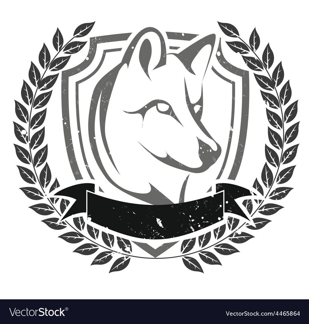 Grunge wolf head emblem vector | Price: 1 Credit (USD $1)