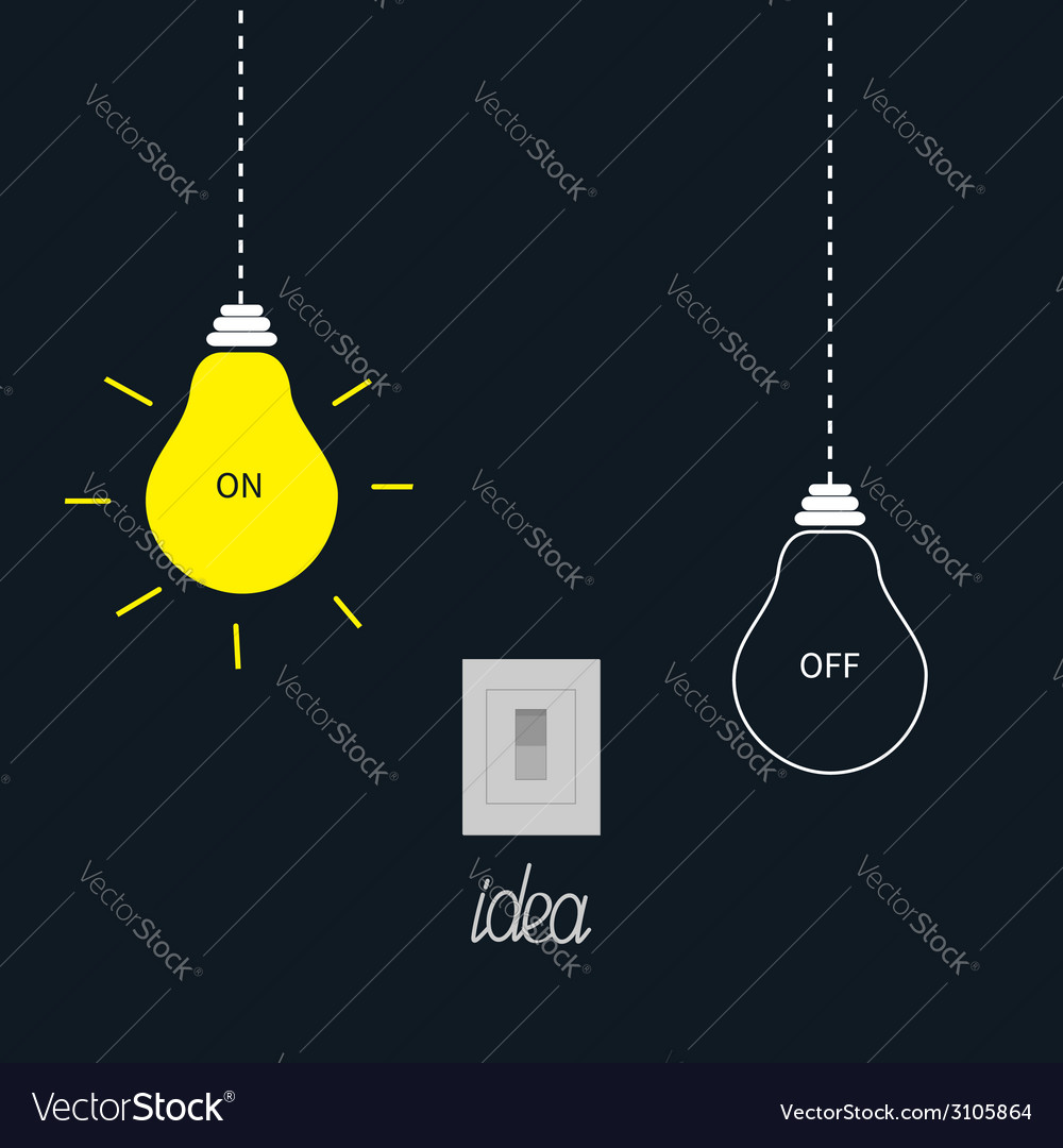Hanging on and off light bulbs with tumbler switch vector | Price: 1 Credit (USD $1)