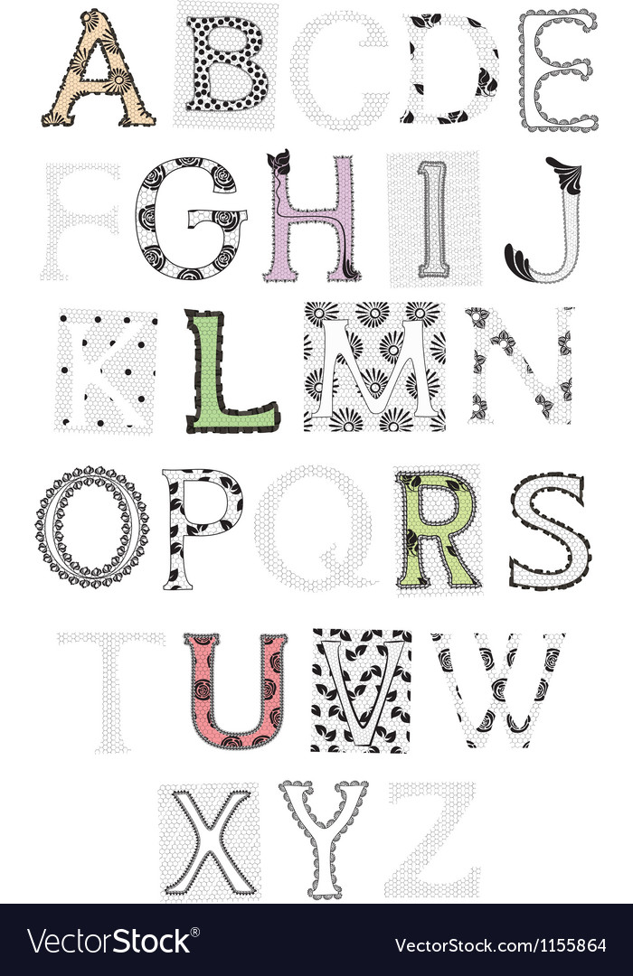 Set of letters lace vector | Price: 1 Credit (USD $1)