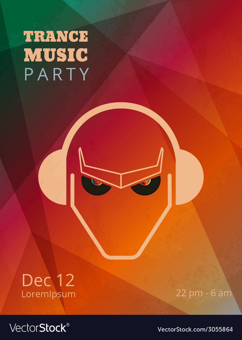 Trance music party poster vector | Price: 1 Credit (USD $1)