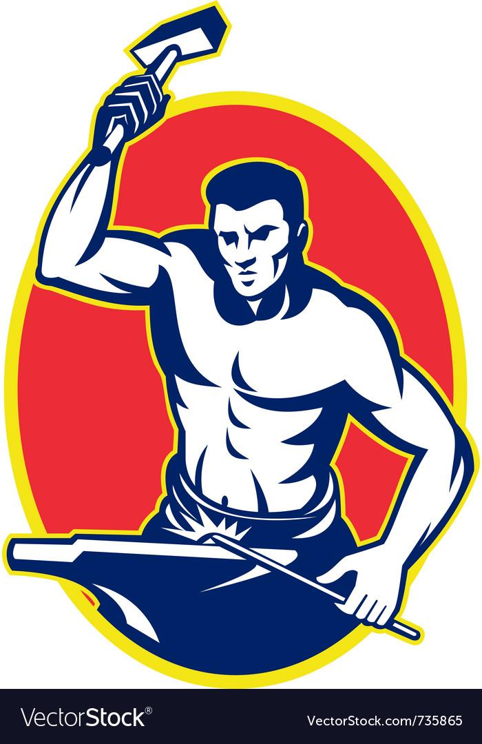 Blacksmith retro symbol vector | Price: 1 Credit (USD $1)