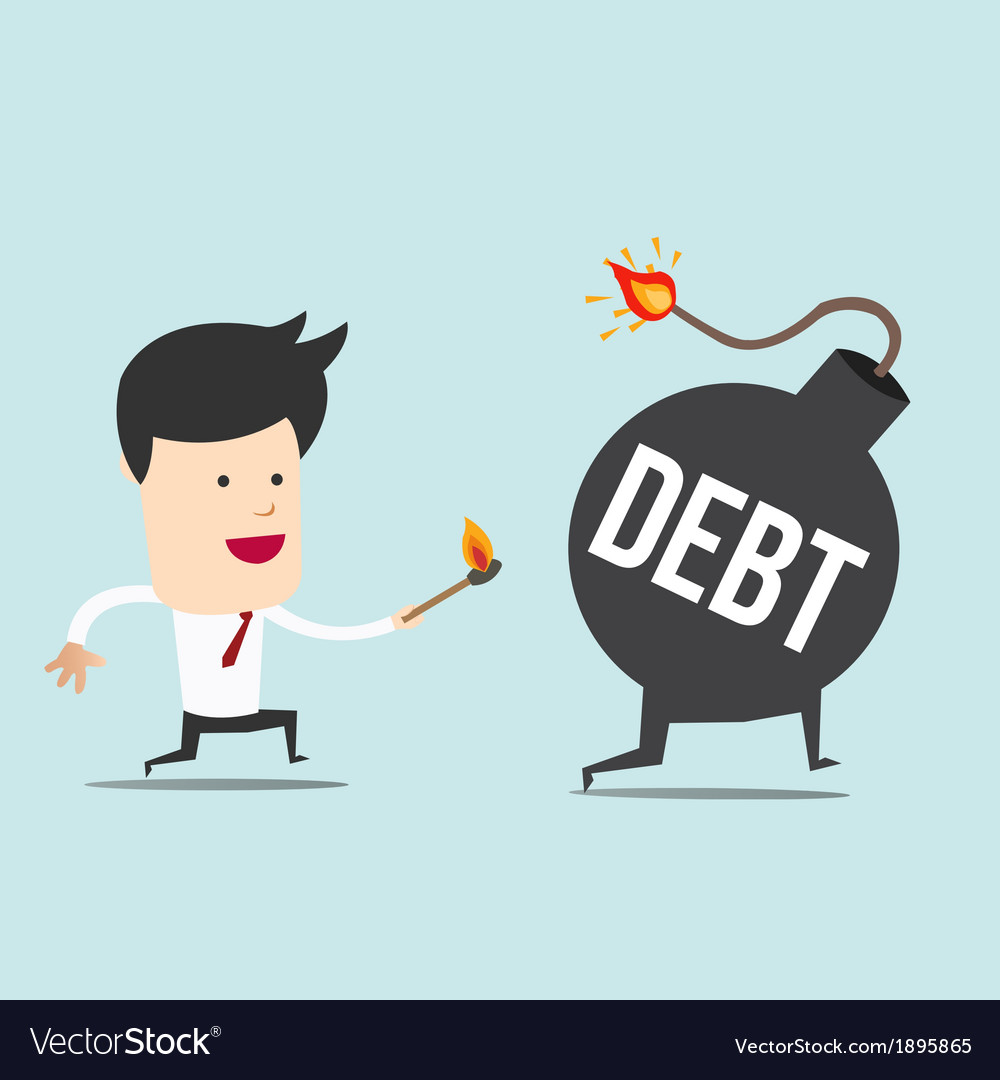 Business man and spark debt bomb vector | Price: 1 Credit (USD $1)