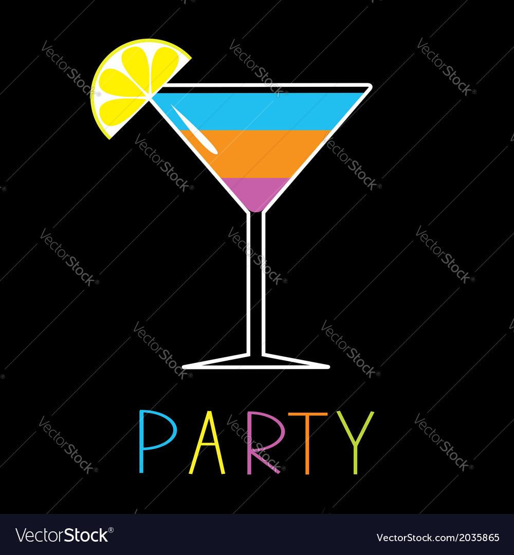 Colorful cocktail in martini glass party card vector | Price: 1 Credit (USD $1)